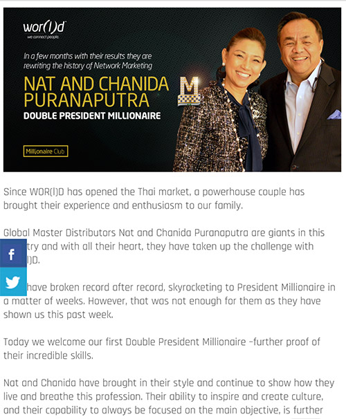 Chanida Puranaputra Double President Millionaire