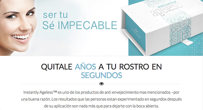 Spanish Instantly Ageless Landing Page