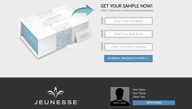 Instantly Ageless Sample Landing page